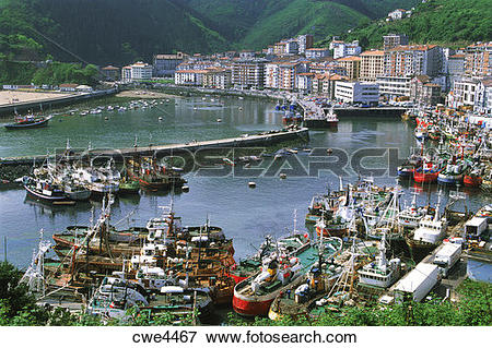 Picture of Fishing village of Ondarroa on Atlantic Coast of Basque.