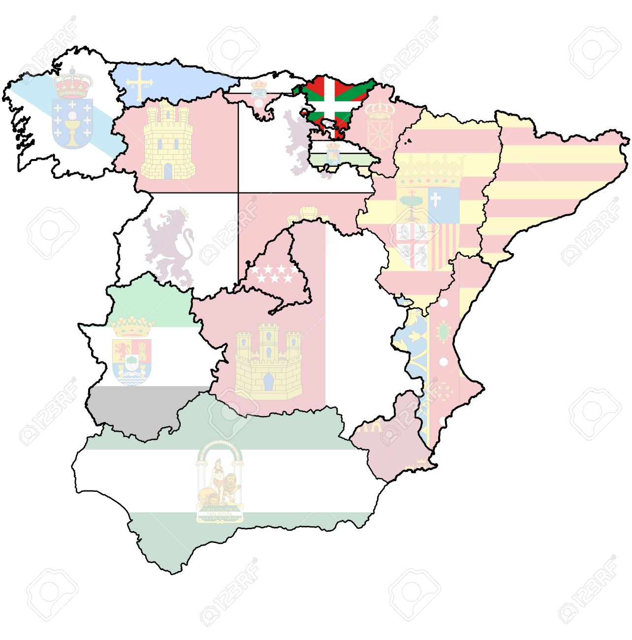 Basque Country Region On Administration Map Of Regions Of Spain.