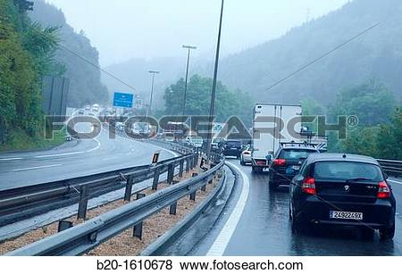 Pictures of Traffic Jam, Highway N1,Tolosa, Gipuzkoa, Basque.