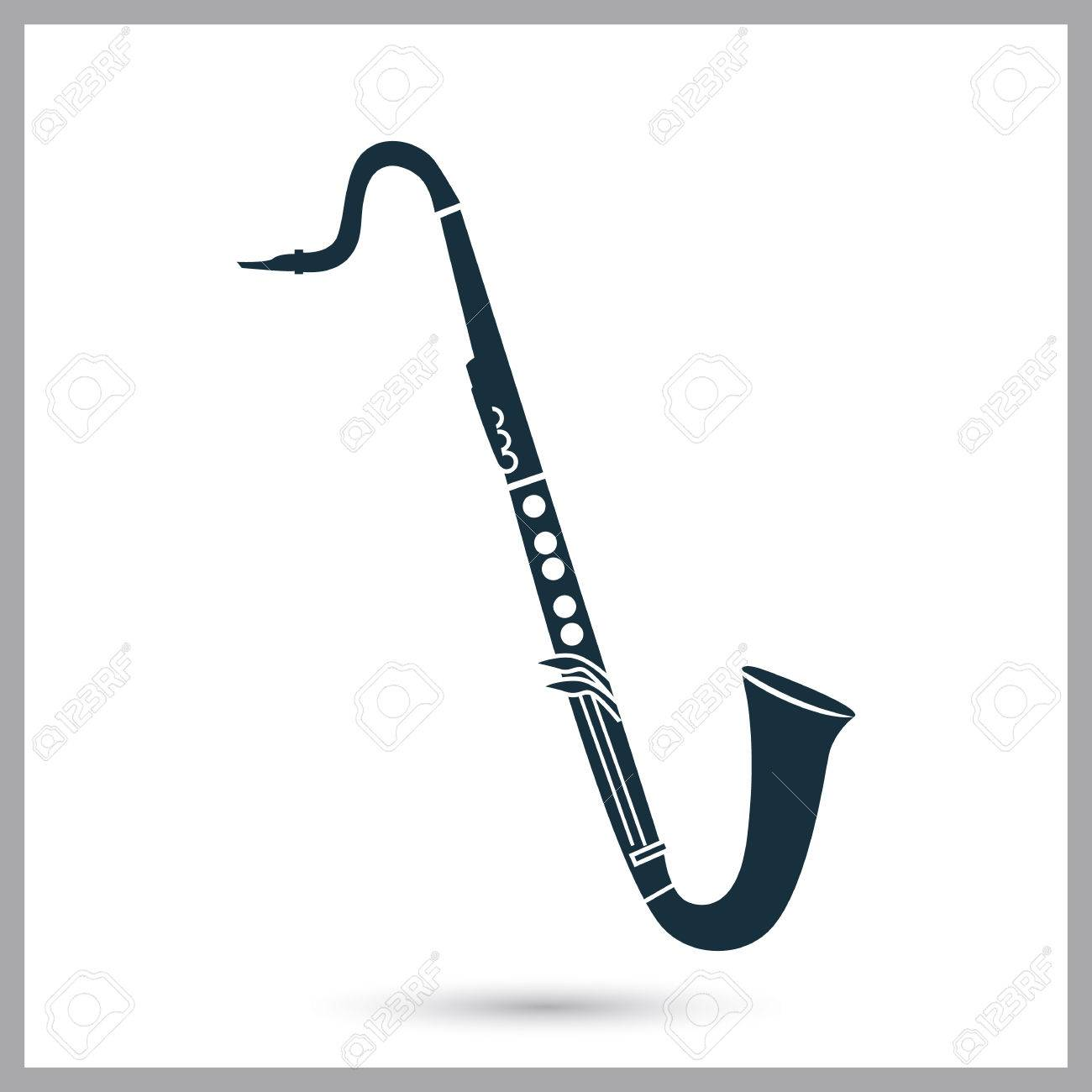 Bass clarinet music instrument icon. Simple design for web and...