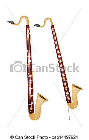 A Musical Bass Clarinet Isolated on White Background.