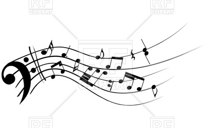 Bass clef with musical notes Vector Image #85584.