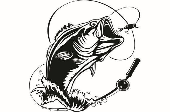 Bass Fishing Png Black And White & Free Bass Fishing Black And White.