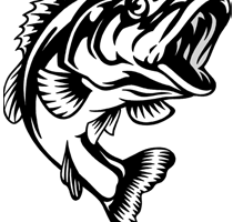 Bass fishing clipart black and white 1 » Clipart Portal.