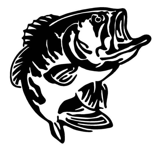 Bass fish clipart black and white.