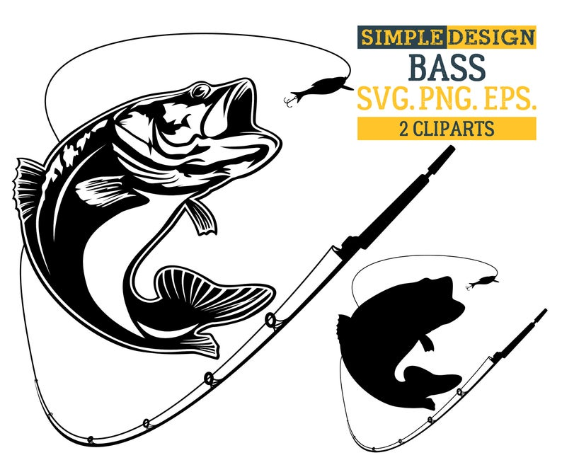 Bass, Fishing, Fish, Hook, Large Mouth Bass,  Silhouette,SVG,Graphics,Illustration,Vector,Logo,Digital,Clipart.