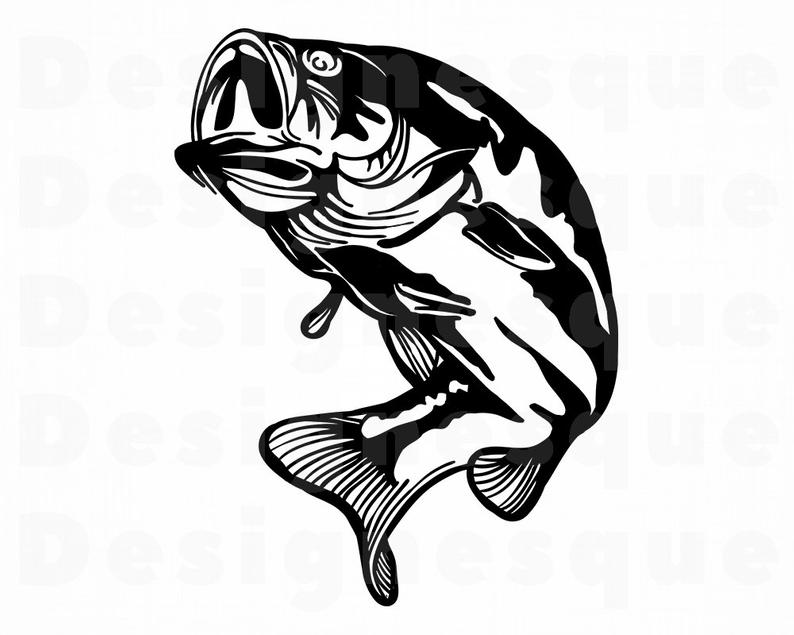Bass Fish Svg, Fishing Svg, Fish SVG, Fishing Clipart, Fishing Files for  Cricut, Fishing Cut Files For Silhouette, Fishing Dxf, Png, Vector.