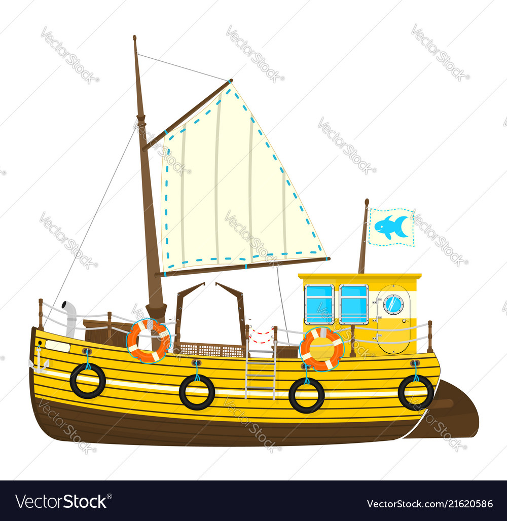 Cartoon fishing boat.