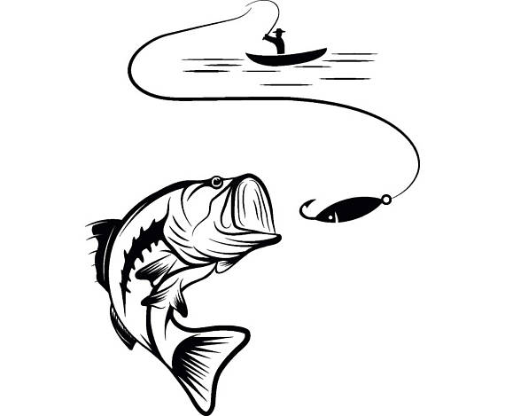 Bass Fishing #4 Logo Angling Fish Hook Fresh Water Hunting.