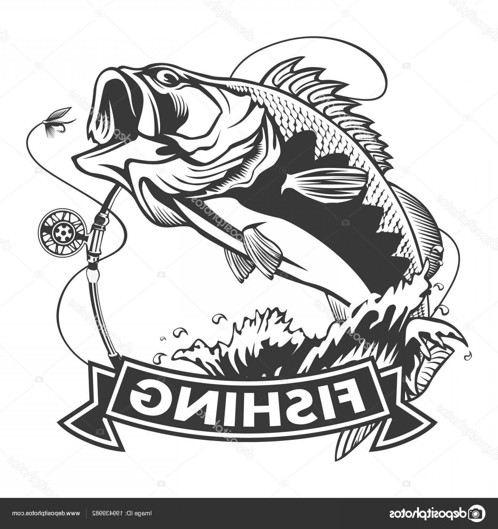 Stock Illustration Fishing Logo Bass Fish Rod.