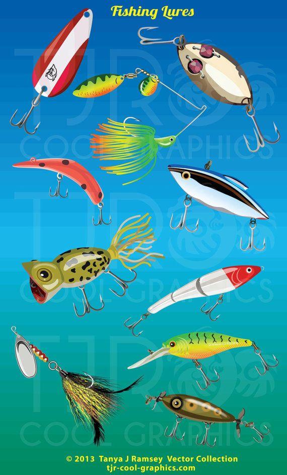 Fishing Lures Digital Realistic Clip Art, PNG, Printable, Spoon.