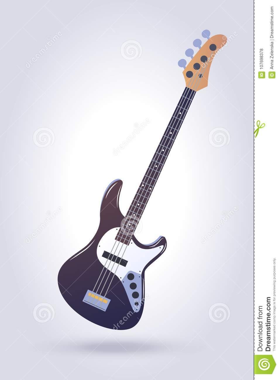 Electric bass guitar stock vector. Illustration of guitar.