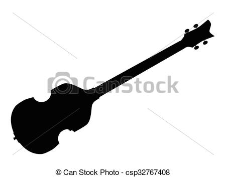 Violin Style Bass Guitar Silhouette.