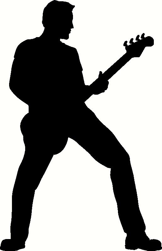 Silhouette Man Playing Guitar.