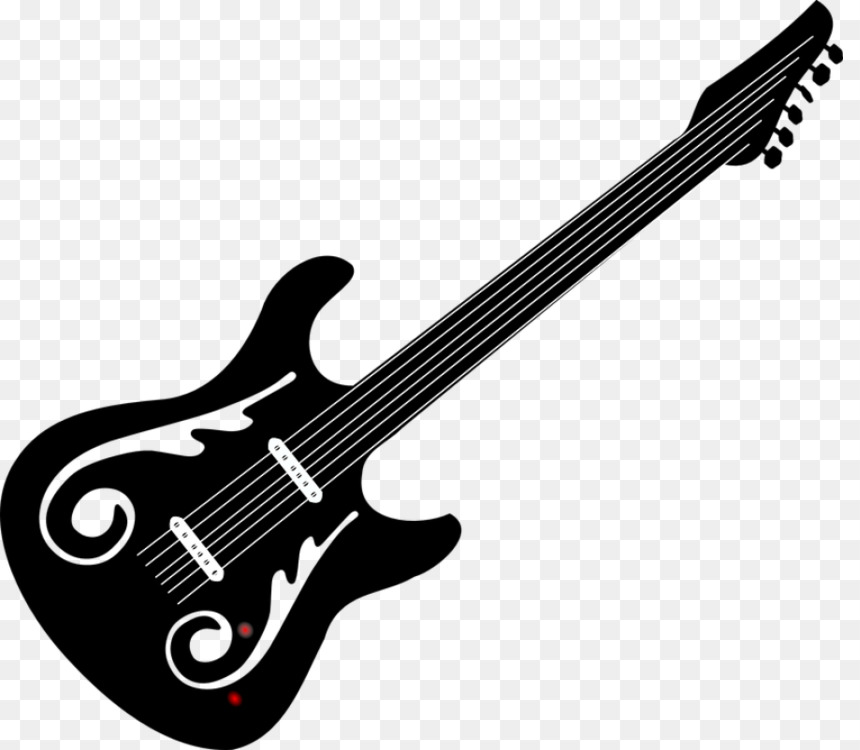 Musical Instrument Png Black And White Guitar & Free Musical.