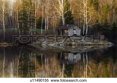 Stock Image of Spring trees and outdoor sauna reflected in Bass.