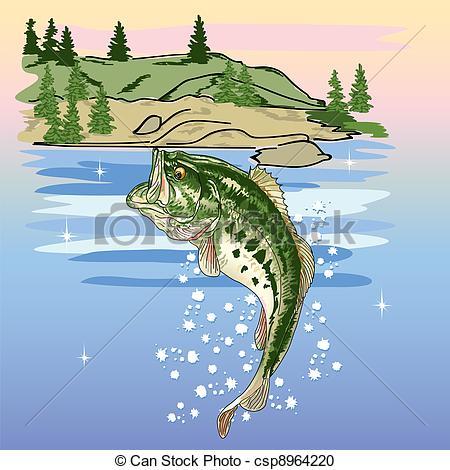 Vector Clipart of Jumping Bass at the Lake.