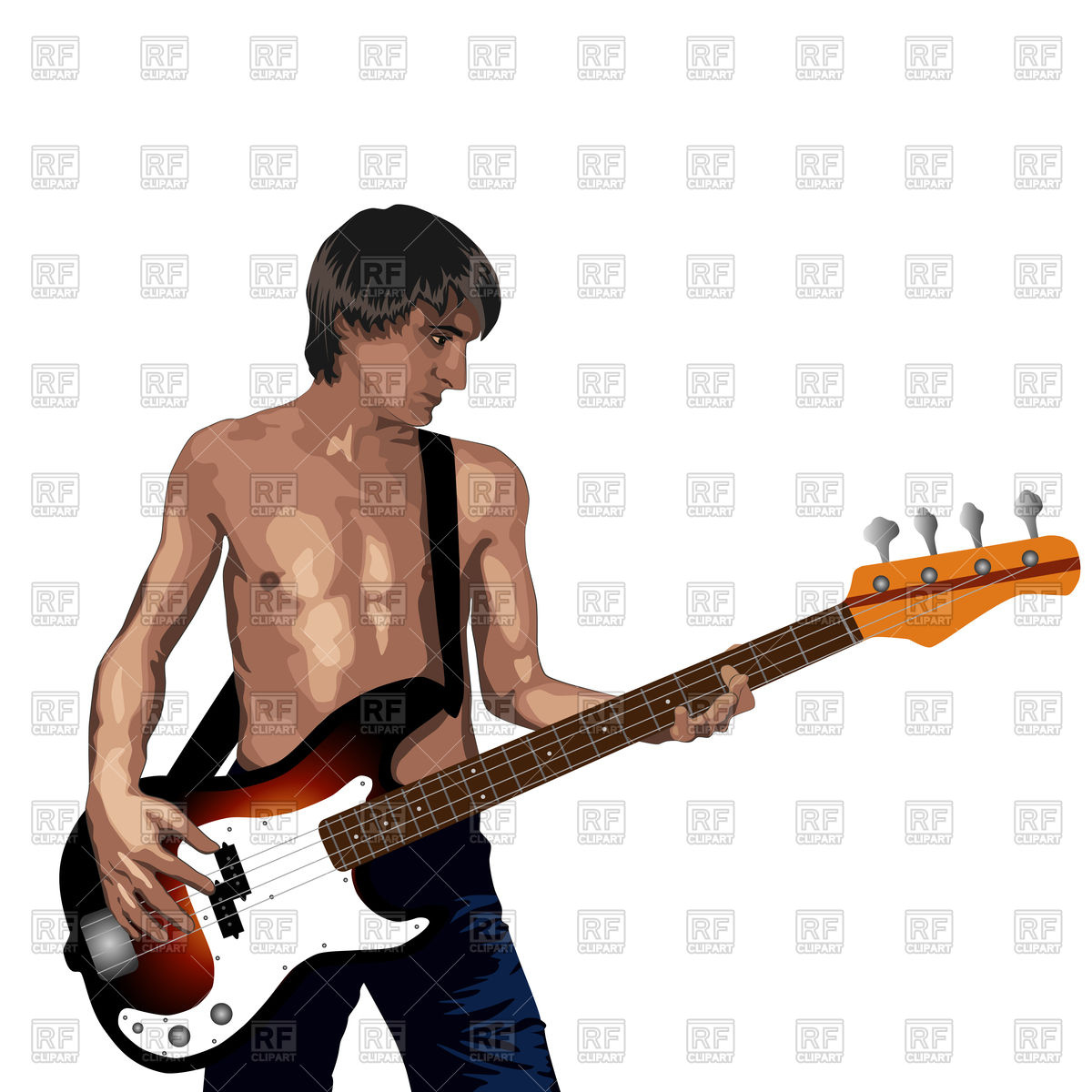 Young man with bass guitar Stock Vector Image.