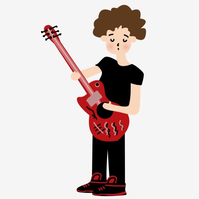 Guitar Hand Painted Illustration Guitarist, Bass, Bass Player, Curls.