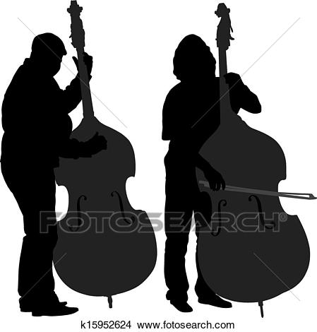 Bass Player Silhouette Clipart.