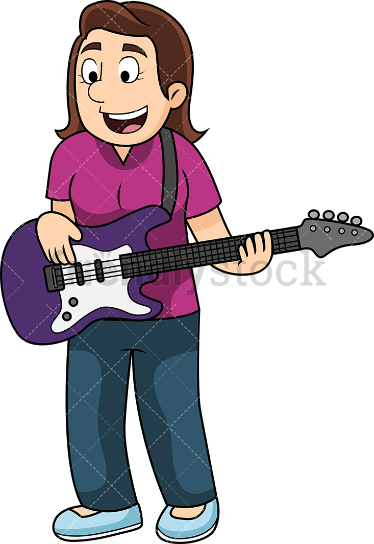 Young Woman Playing The Bass Guitar.