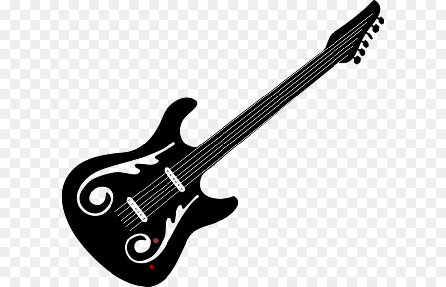 Bass Guitar Black And White Electric Gui #12171.
