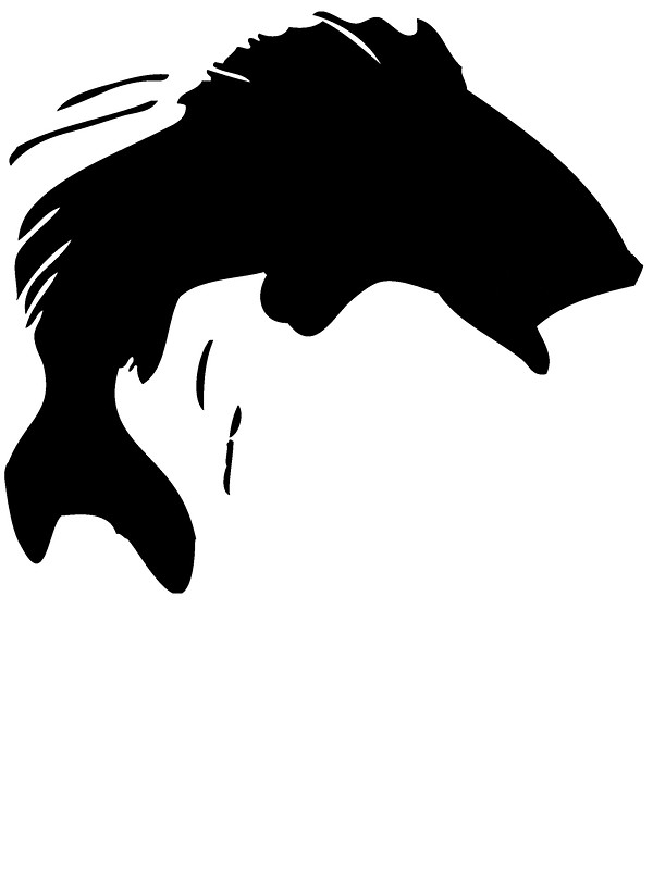 black and white clipart of a silhouette of a fish #7