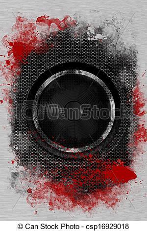 Clipart of Hardcore Rock Bass Speaker. Cool Grunge Black Bass.