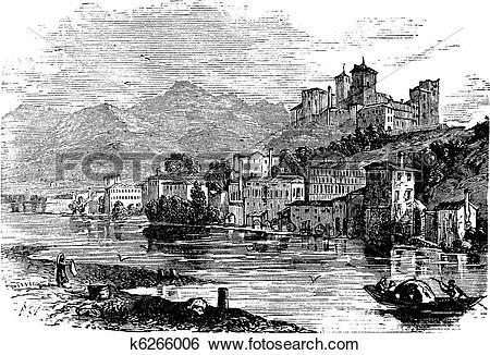 Clip Art of Bassano del Grappa, in Veneto, Italy, during the 1890s.
