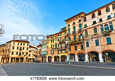 Pictures of romantic Market place at old town Bassano del Grappa.