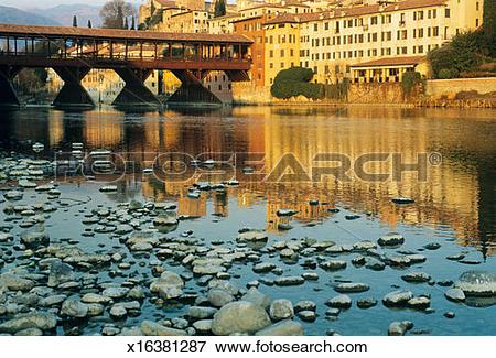 Picture of Italy, Venetia, Bassano del Grappa, bridge over River.