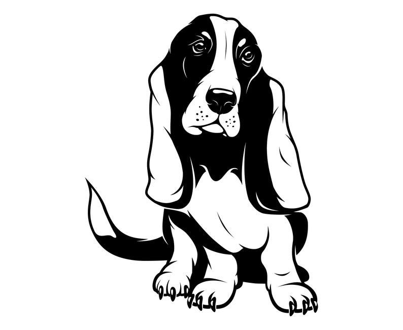 Basset Hound,  Silhouette,SVG,Graphics,Illustration,Vector,Logo,Digital,Clipart.
