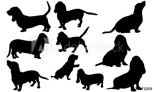 Basset Hound Dog svg files cricut, silhouette clip art.
