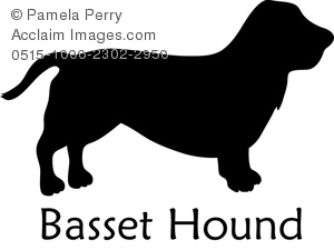 Clip Art Image of a Silhouette of a Basset Hound.
