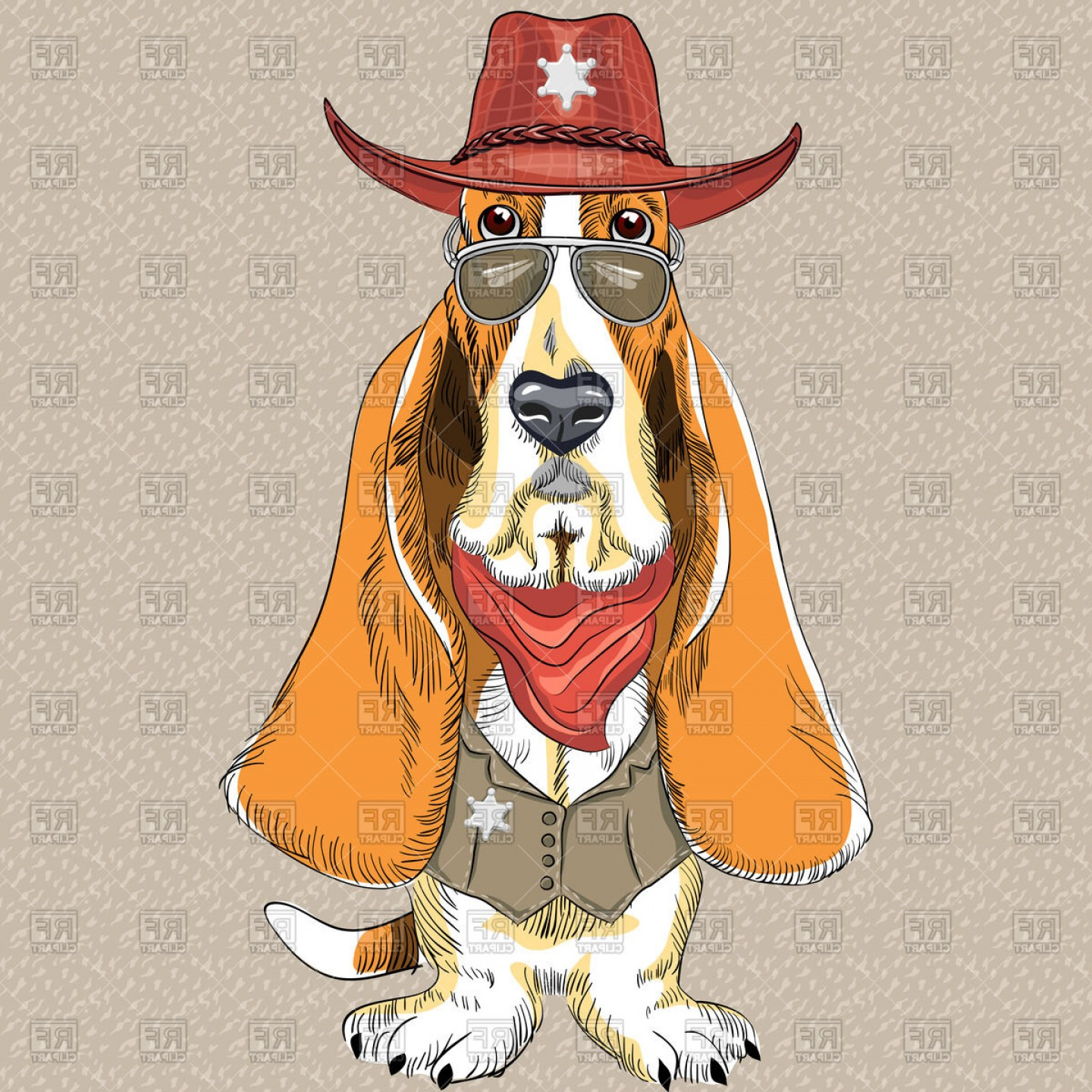 Basset Hound In Sheriff Hat Glasses And Waistcoat Vector Clipart.