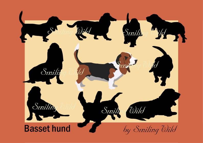 Basset hound silhhouette svg clipart basset vector graphic art printable  dog cutout for scrapbooking and stencils dog art coonhound art.