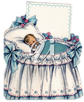 Clipart Illustration of a Baby and Bassinet.