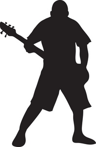 Bass guitar player clip art.