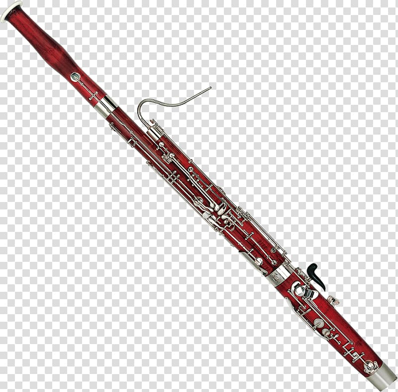 Red and grey wind instrument illustration, Bassoon Woodwind.