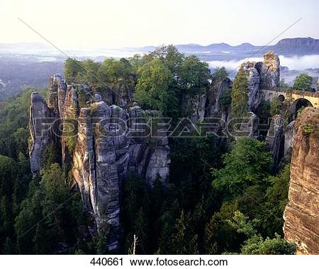 Stock Photography of Bridge passing through cliffs, Bastei Bridge.
