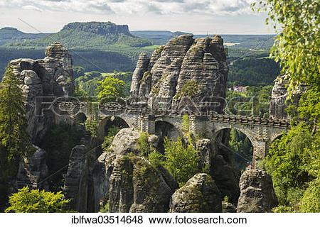 """Pictures of """"Bastei Bridge, Elbe Sandstone Mountains, Saxony."""