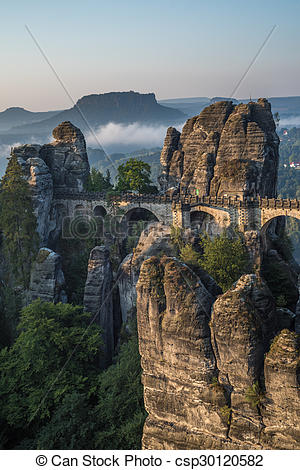 Pictures of The Bastei bridge, Saxon Switzerland National Park.