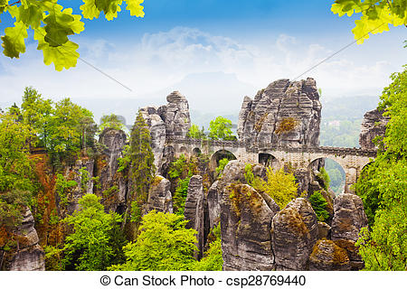 Stock Photo of Bastei bridge in summer, Germany.