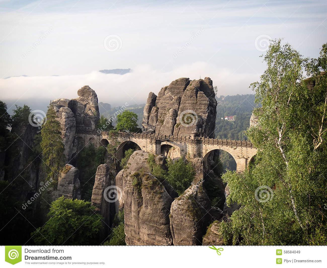 Bastei Bridge In Saxon Switzerland Stock Photo.