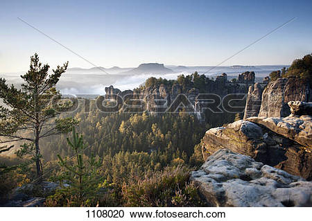 Stock Photography of Morning at the Bastei, Elbe Sandstone.