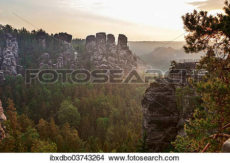 "Stock Photo of ""View from the Bastei rock formation, Saxon."