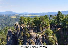 Stock Images of Bastei at Elbsandsteingebirge Saxony Germany.