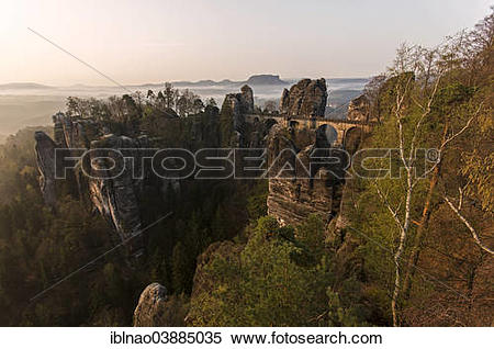 "Stock Image of ""Bastei Bridge, Elbe Sandstone Mountains, Saxon."
