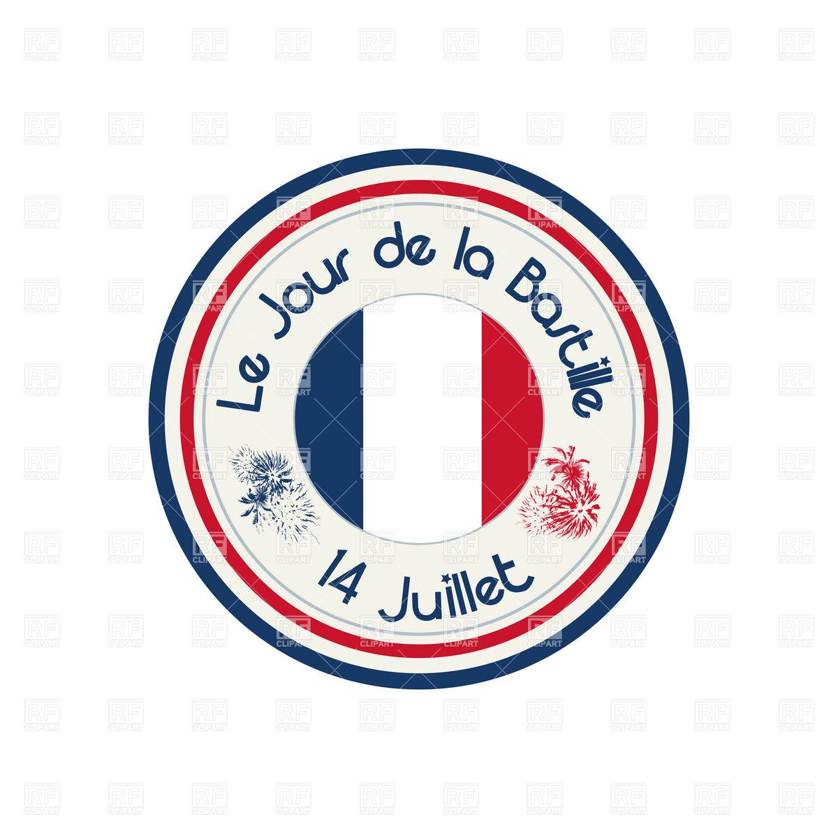Bastille Day celebration stamp Vector Image #6503.