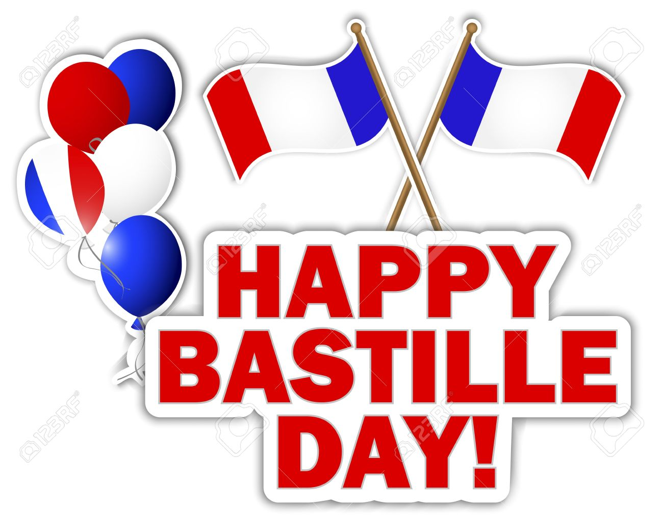 Bastille Day Stickers With Flags And Balloons Royalty Free.
